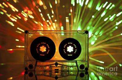 Cassette Tape And Multicolored Lights Art Print by Deyan Georgiev