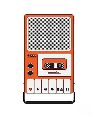 Dictaphones Digital Art - Cassette Tape Recorder by Igor Kislev