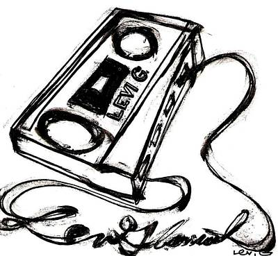 Long Center Drawing - Cassette Unwound Into Levi Glassrock by Levi Glassrock