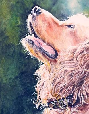 Wall Art - Painting - Cassie..golden Field Spaniel by Nancy Delgado