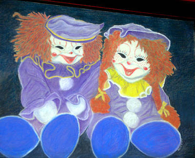 Pastel - Aunt Cassies Raggedy Ann And Andy  Pastel by Antonia Citrino