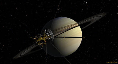 Digital Art - Cassini Orbiting Saturn by David Robinson