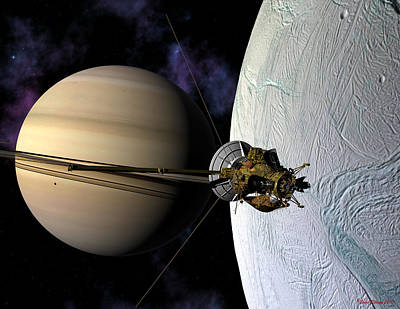 Cassini Passing Enceladus  Art Print by David Robinson