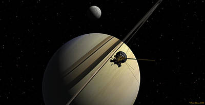 Digital Art - Cassini Passing Tethys by David Robinson