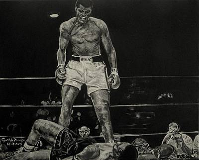 Cassius Clay And Sonny Liston Art Print by Cynthia Farmer