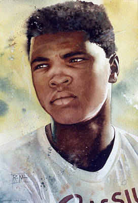 Watercolor Portraits Painting - Cassius Clay by Rich Marks