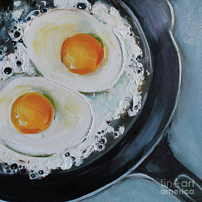 Egg Painting - Cast Iron Skillet Fried Eggs by Kristine Kainer