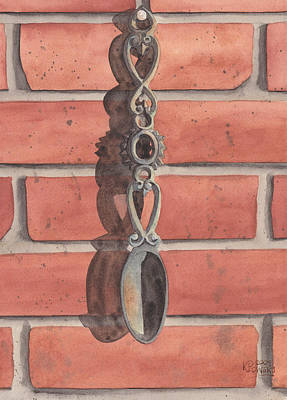 Painting - Cast Iron Welsh Love Spoon Two by Ken Powers