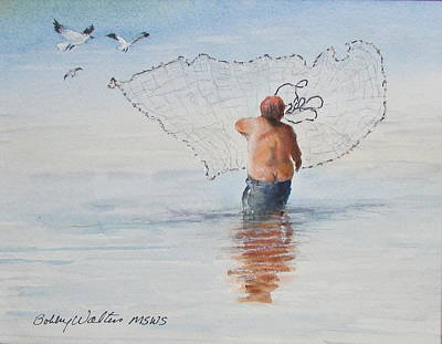 Painting - Cast Net Fishing by Bobby Walters