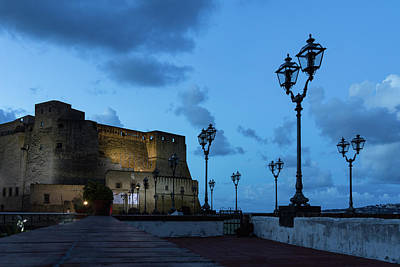 Photograph - Castel Dell Ovo - Blue Hour At The Fabulous Seaside Castle In Naples Italy by Georgia Mizuleva