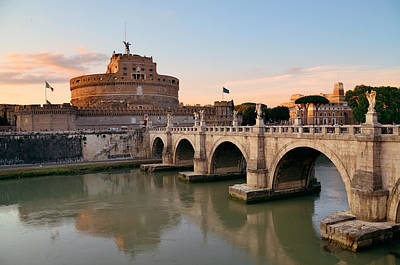 Photograph - Castel Sant Angelo And River Tiber Rome by Songquan Deng