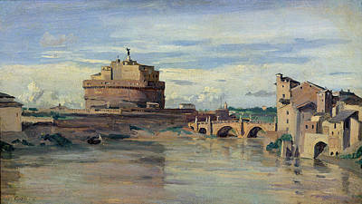 On Paper Painting - Castel Sant Angelo And The River Tiber by Jean Baptiste Camille Corot