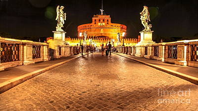 Castel Santangelo Wall Art - Photograph - Castel Sant Angelo Night by Benny Marty