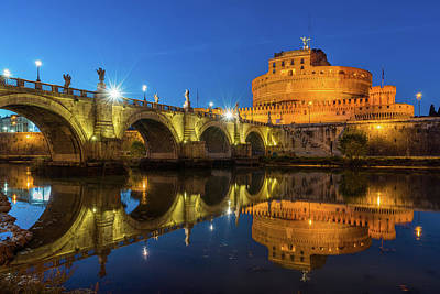 Castel Santangelo Wall Art - Photograph - Castel Sant'angelo In The Evening, Reflected On The Tiber. by Stefano Valeri