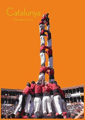 Buy Fine Art Online Digital Art - Castellers De Catalunya by Joaquin Abella