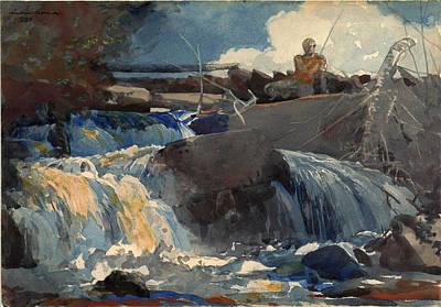 Winslow Homer Drawing - Casting In The Falls by Winslow Homer