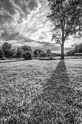 Photograph - Casting Shadows - Old Barn At Sunset - Black And White by Gregory Ballos