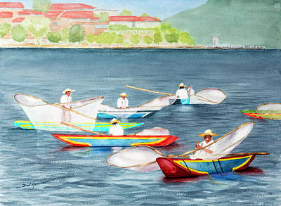 American Watercolor Society Painting - Casting Their Nets by Don Harvie