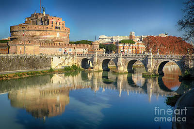 Castle And Bridge Reflections In The Tiber River Art Print by George Oze