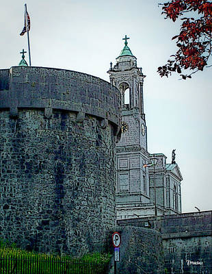 Tourist Attraction Digital Art - Castle And Church Athlone Ireland by Teresa Mucha