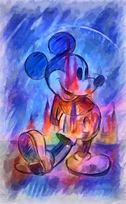 Digital Art - Castle And Mickey Mouse by Caito Junqueira