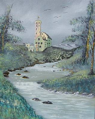 Castle By Stream Art Print by Tony Rodriguez