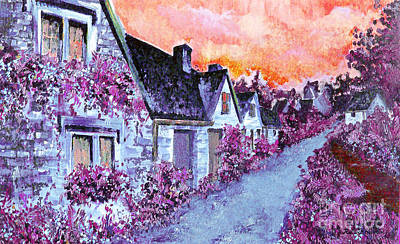 Modernism Painting - Castle Combe 2 by Raluca Nedelcu