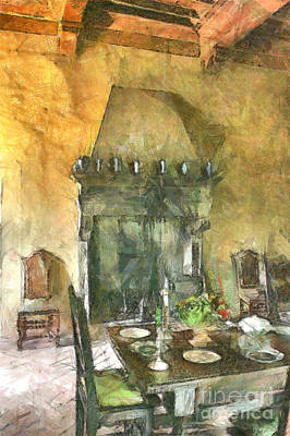 Digital Art - Castle Dining Room With Fireplace by Giuseppe Cocco