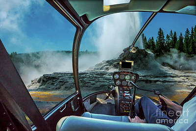 Photograph - Castle Geyser Helicopter by Benny Marty