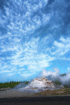 Photograph - Castle Geyser Yellowstone Np Photo Painting_grk7577_05262018 by Greg Kluempers