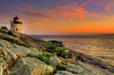 Ocean At Sunset Photograph - Castle Hill Lighthouse - Newport Rhode Island by Thomas Schoeller