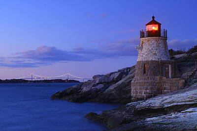 Photograph - Castle Hill Lighthouse And Newport Bridge by John Burk