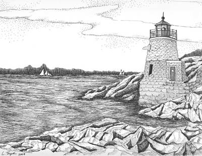 Drawing - Castle Hill Lighthouse by Lawrence Tripoli