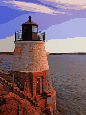 Castle Painting - Castle Hill Lighthouse, Newport, Rhode Island by Andrea Mazzocchetti