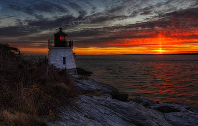 Photograph - Castle Hill Lighthouse Sunset by John Vose