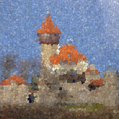 Castle Hnevin Glass Mosaic Art Print by Miroslav Nemecek