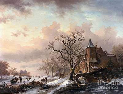 People Painting - Castle In A Winter Landscape And Skaters On A Fozen River by Celestial Images
