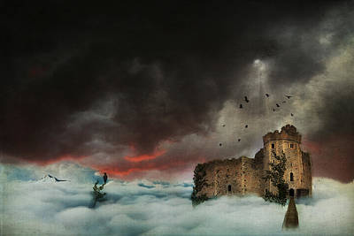 Ruins Mixed Media - Castle In The Clouds by Terry Fleckney