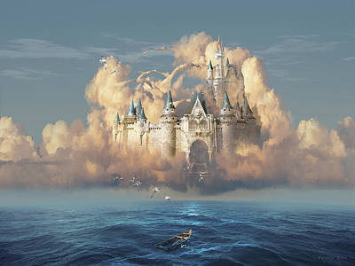 Fantasy Digital Art - Castle in the Sky by George Grie