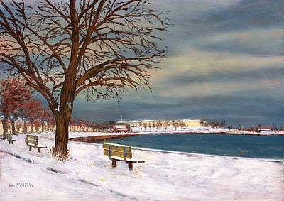 Snow Fort Painting - Castle Island - Winter by William Frew