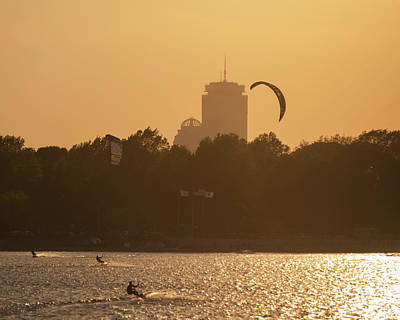 Castle Island Kite Boarded Boston Ma Sunset Prudential Art Print by Toby McGuire