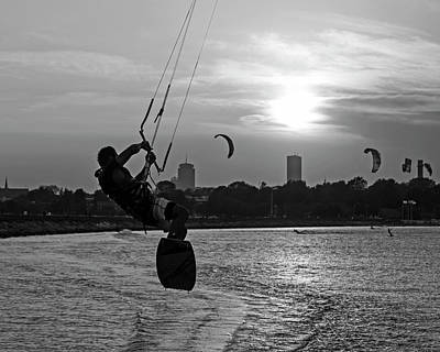Castle Island Kite Boarder Boston Ma Sunset Black And White Art Print by Toby McGuire