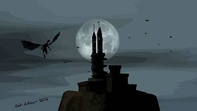 Digital Art - Castle Moon by Bob Shimer