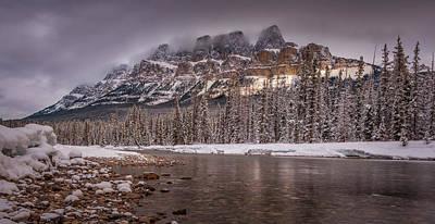 Castle Mountain At Sunset, Banff National Park, Alberta Canada Original
