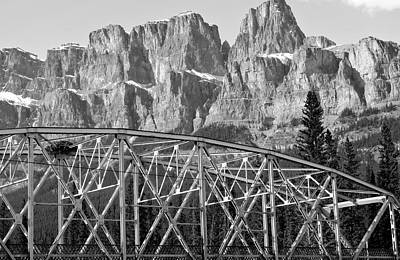 Castle Mountain Bridge In Black And White- By Carol Cottrell Print by Carol Cottrell