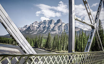 Castle Mountain Bridge View- By Carol Cottrell Print by Carol Cottrell