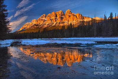 Photograph - Castle Mountain Icy Afternoon Reflections by Adam Jewell