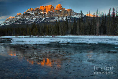 Photograph - Castle Mountain Icy Red Reflections by Adam Jewell
