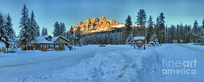 Photograph - Castle Mountain Sunset Panorama by Adam Jewell