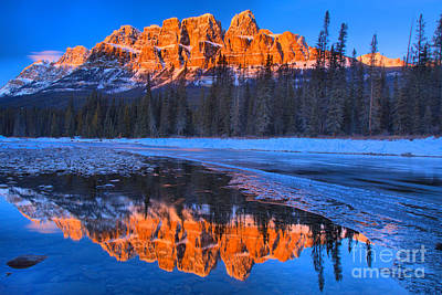 Photograph - Castle Mountain Sunset Reflections by Adam Jewell